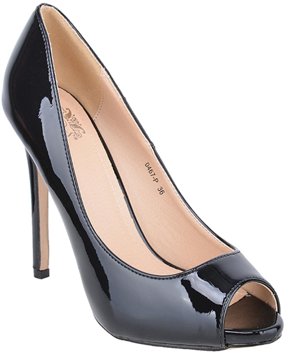 edle pin up lack basic retro peep toes high heels black rockabilly s 0467 p ebay. Black Bedroom Furniture Sets. Home Design Ideas