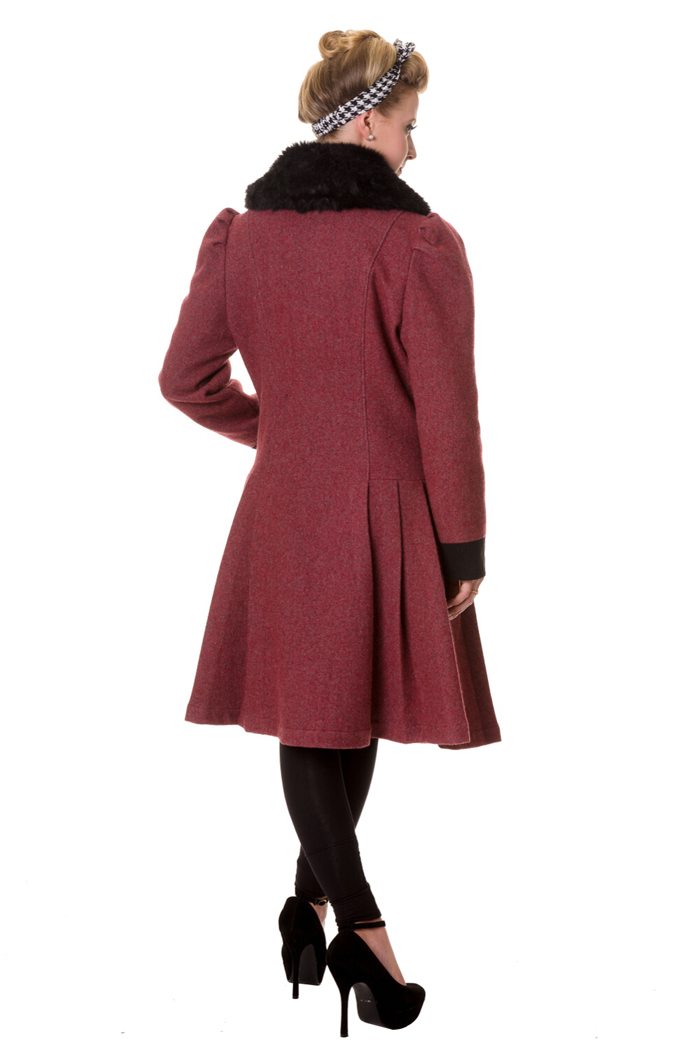 Banned vintage fake fur burgundy button coat mantel - Rockabilly mantel ...