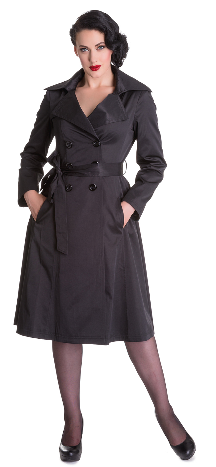 hell bunny bacall trench coat vintage 50s mantel schwarz. Black Bedroom Furniture Sets. Home Design Ideas