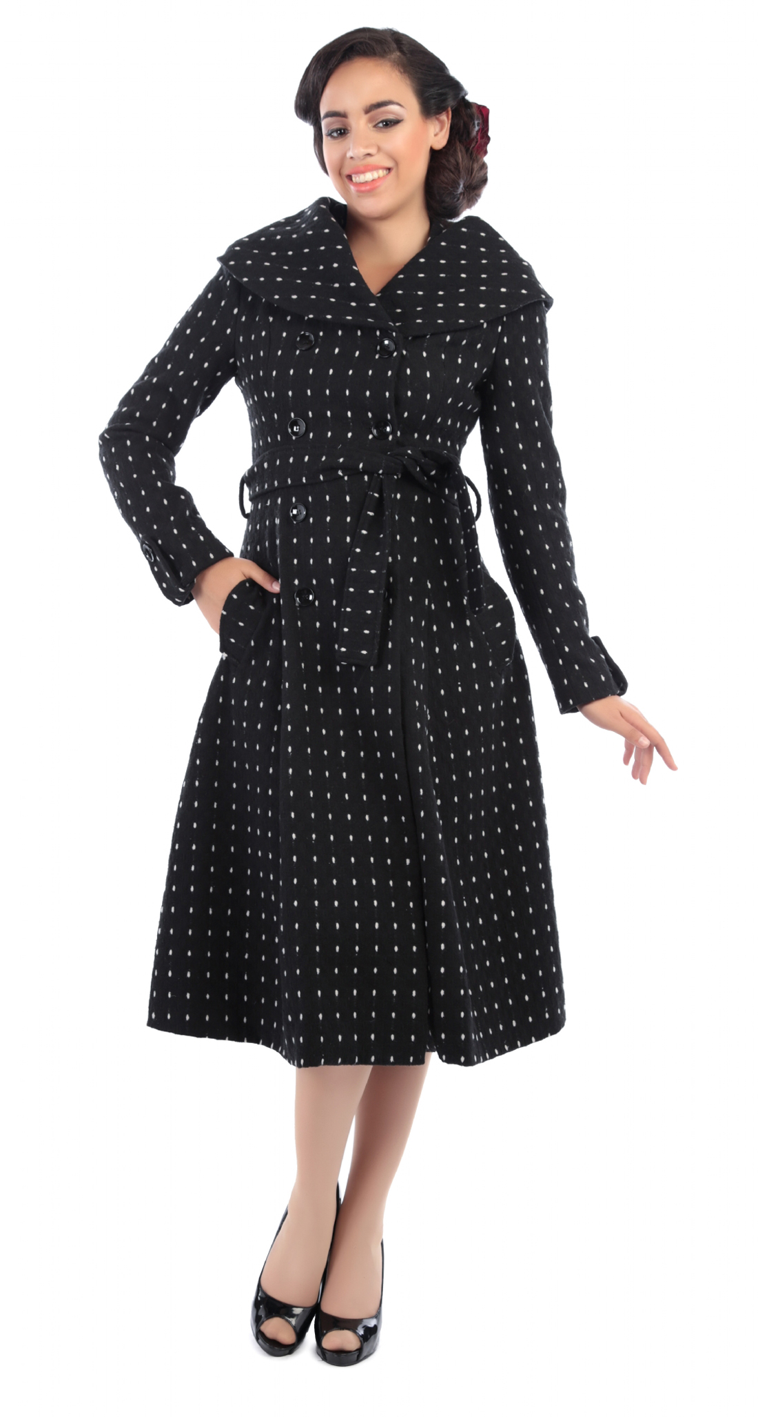 Aida zak barbara polka dots vintage pin up coat mantel - Rockabilly mantel ...