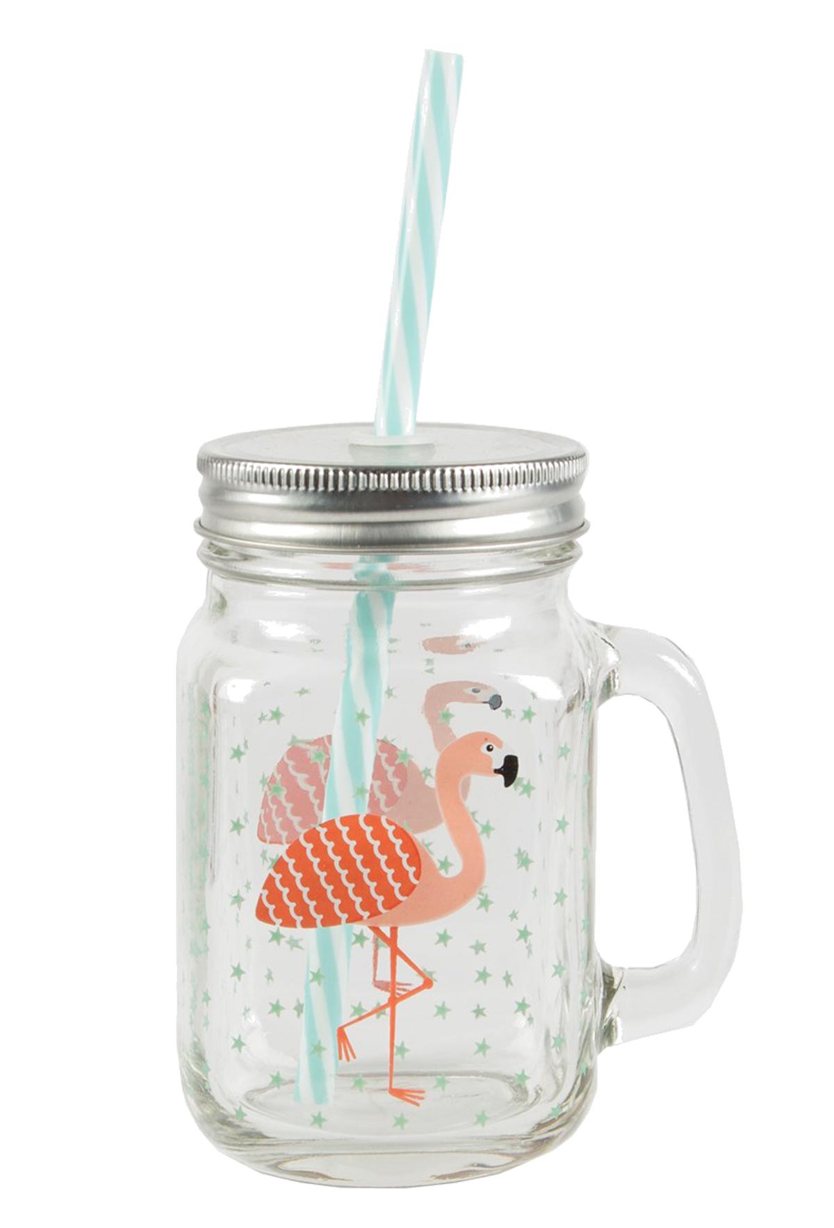 tropical flamingo mason drinking jar glas mit deckel und strohalm rockabilly ebay. Black Bedroom Furniture Sets. Home Design Ideas