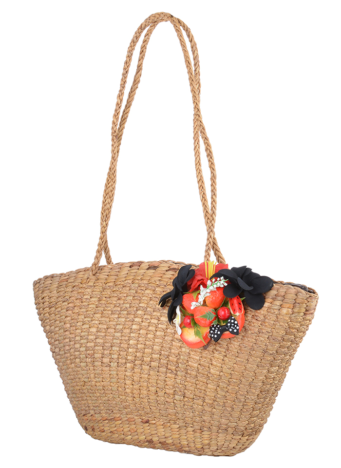 edle retro frangipani schleifen 50s obst raffia bast handtasche ts3100 rockabill ebay. Black Bedroom Furniture Sets. Home Design Ideas