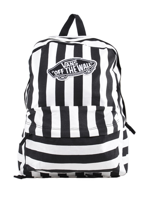 vans realm stripe strisce backpack zaino black white ebay. Black Bedroom Furniture Sets. Home Design Ideas