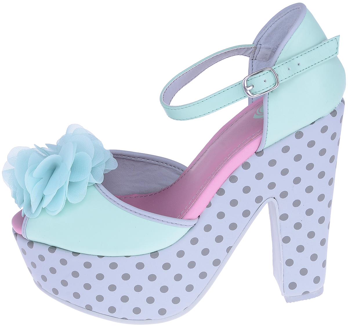 t u k chiffon flower mimi mint polk dots wedge heels pumps rockabilly ebay. Black Bedroom Furniture Sets. Home Design Ideas