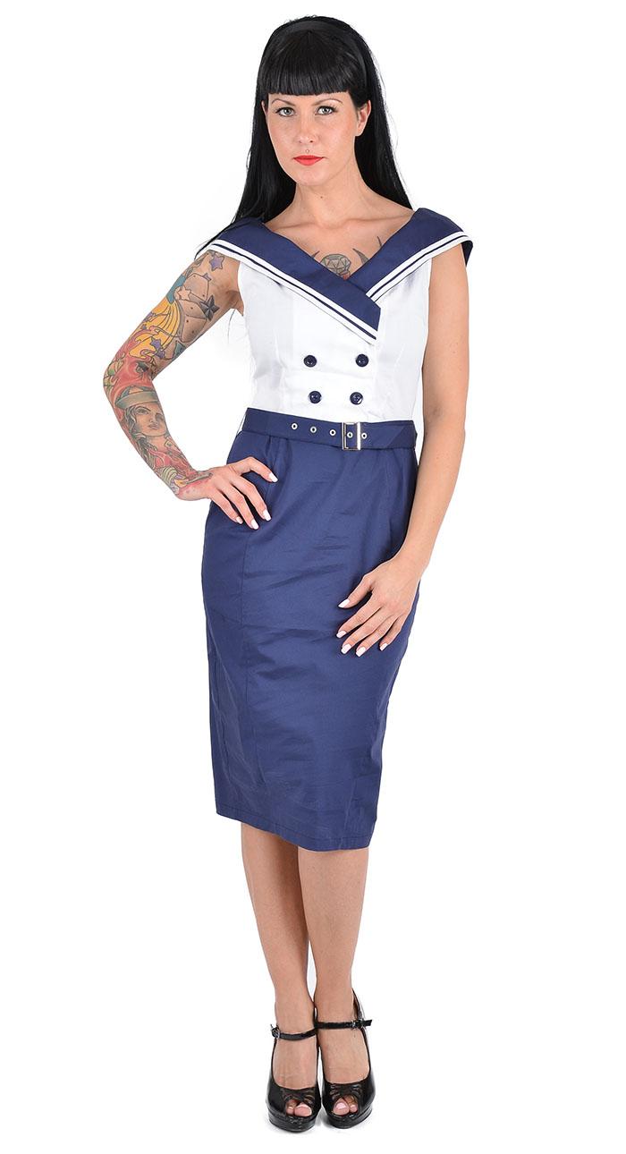 pin up sailor vintage matrosen plus size kleid dress rockabilly blau wei ebay. Black Bedroom Furniture Sets. Home Design Ideas