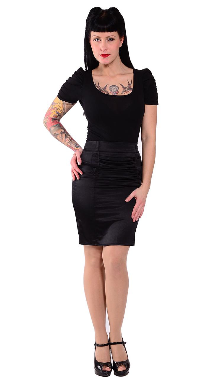 50s pin up satin buttoned pencil skirt skirt blk