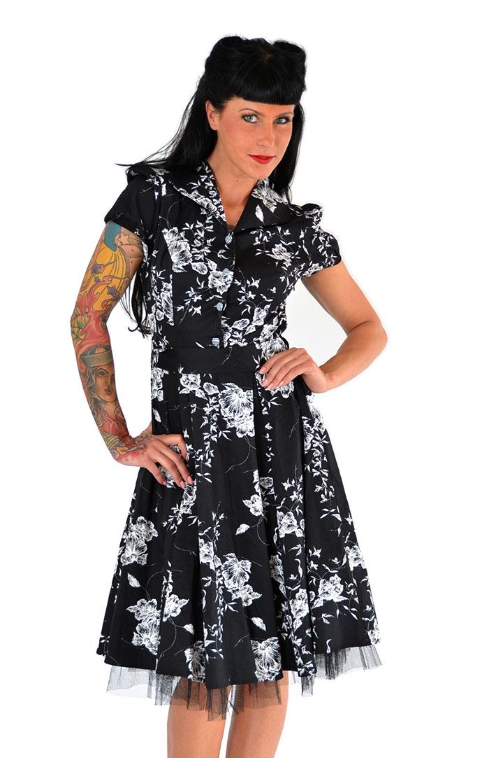 fifties flower bl ten buttoned rockabilly petticoat kleid mit kragen ebay. Black Bedroom Furniture Sets. Home Design Ideas